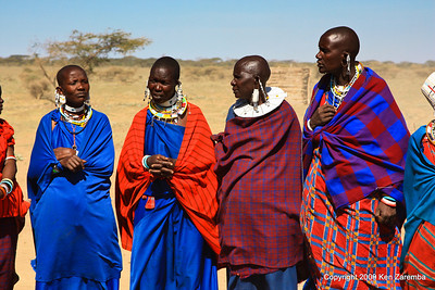Maasai women in their brightly colored costumes, Tanzania 1/03/09
