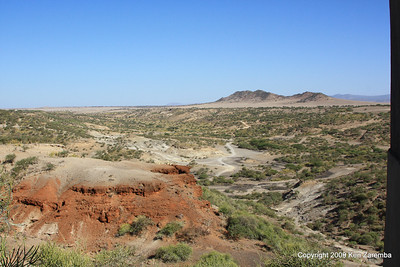 The hillside in Olduvai Gorge where they found the bones of Handy Man & Nutcracker Man and others, Tanzania 1/03/09
